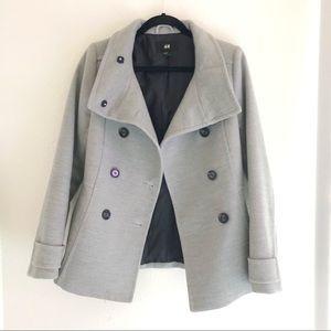 H&M Grey Pea Coat sz 8